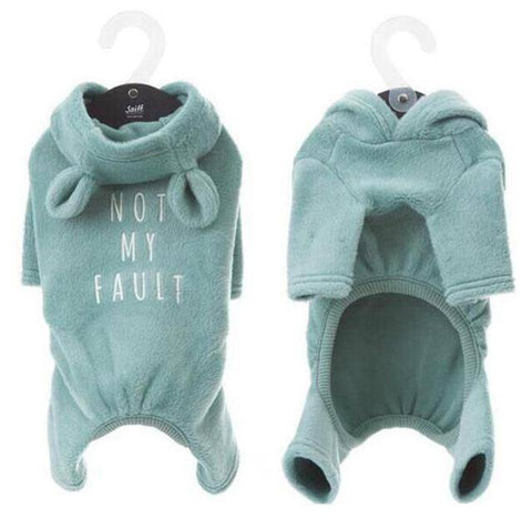 Image of Frenchie Onesie 'Not My Fault' Frenchie Clothing Custom Frenchie Store Blue With Ears Size 2 (SM)