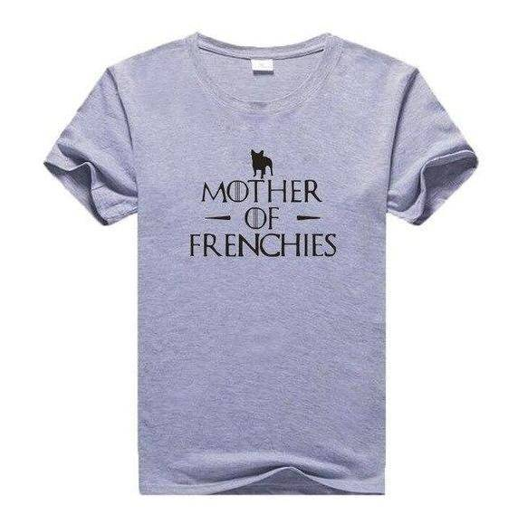 Mother of Frenchies T-Shirt T-Shirts Custom Frenchie Store Black Writing on Grey S