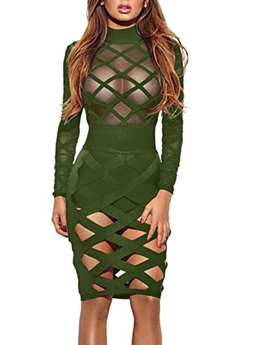 Wuxh Women's Sexy Long Sleeve Hollow Out Cocktail Clubwear Party Mini Bandage Bodycon Dress (Small, Style1-Army Green)
