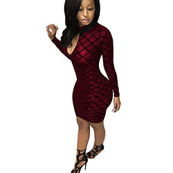 Dreamparis Women's Keyhole Mesh Long Sleeve Bodycon Pencil Midi Club Dresses,Large,Wine Red