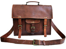 "15"" Men's Genuine Leather Messenger College Macbook Laptop Satchel Briefcase Bag"