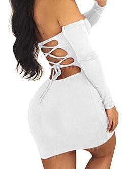 Gobles Women Sexy Off Shoulder Back Lace Up Bodycon Mini Club Dress (M, White)