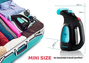 BIZOND Portable Garment Steamer for Clothes, Fabric, Dresses - Safe and Little Handy, Anti-Spill - Home and Travel - Best Compact Mini Steamer with Accessories - Handheld Steamer Economy Model (Black)