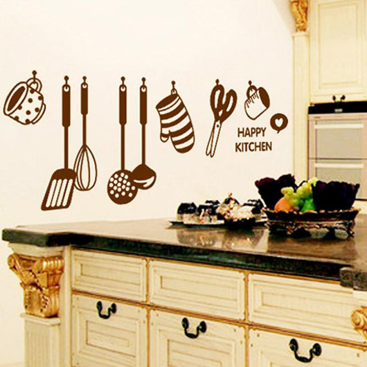 Super Deal wall stickers DIY Removable Happy Kitchen Wall Decal Vinyl Home Decor Wall Stickers New HYM02