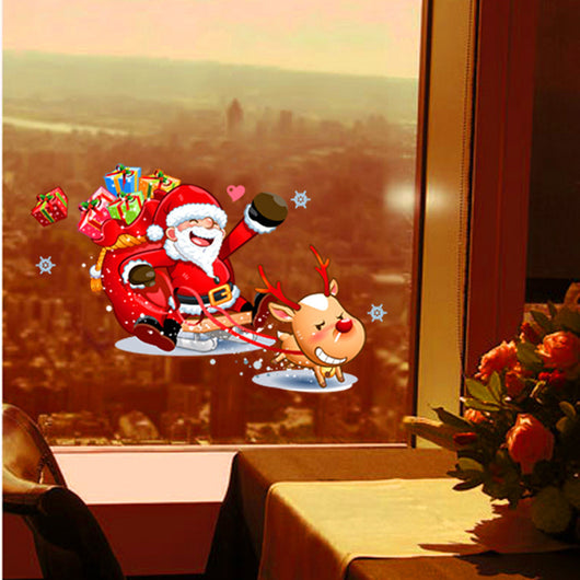 Santa Claus Christmas Windows Removable Wall Stickers christmas decorations for home wall stickers