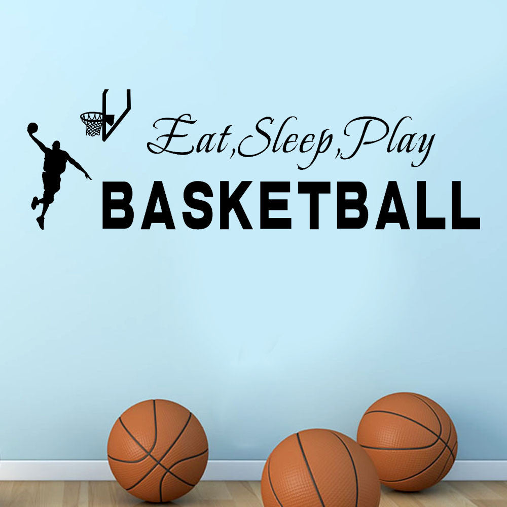 wall stickers for kids rooms Sleep Play Basketball Quotes Wall Sticker Decal Home Boys Room Decoration