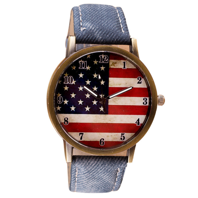 American Flag Leather Band Wrist Watch