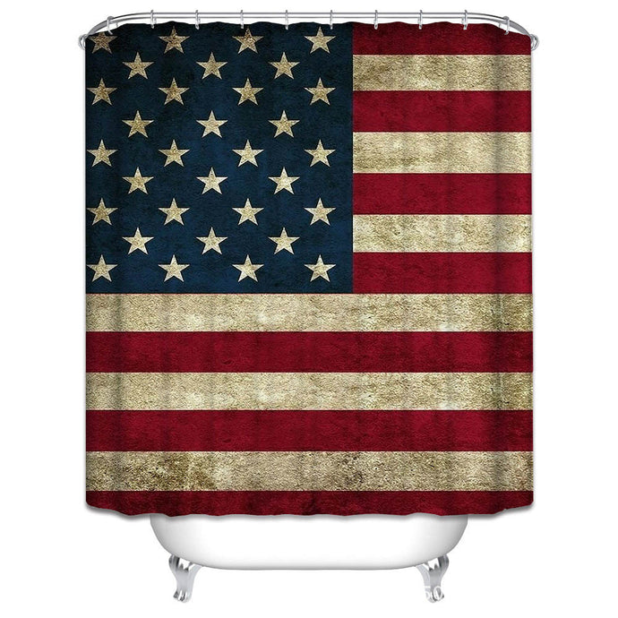 Retro American Flag Pattern Shower Curtain