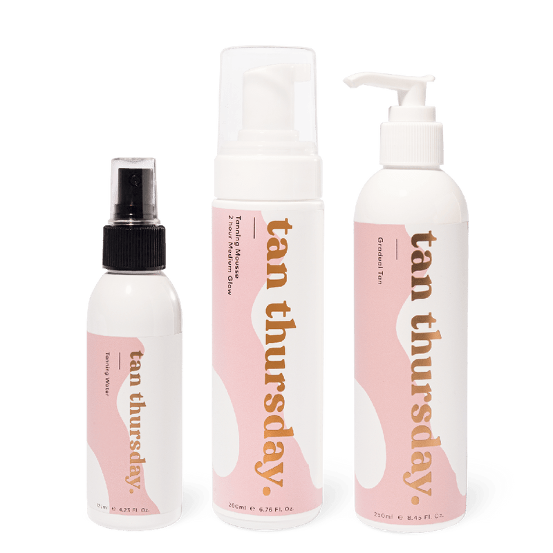 2 Hour Medium Glow Tanning Mousse + Tanning Water + Gradual Tan - cos.u.r