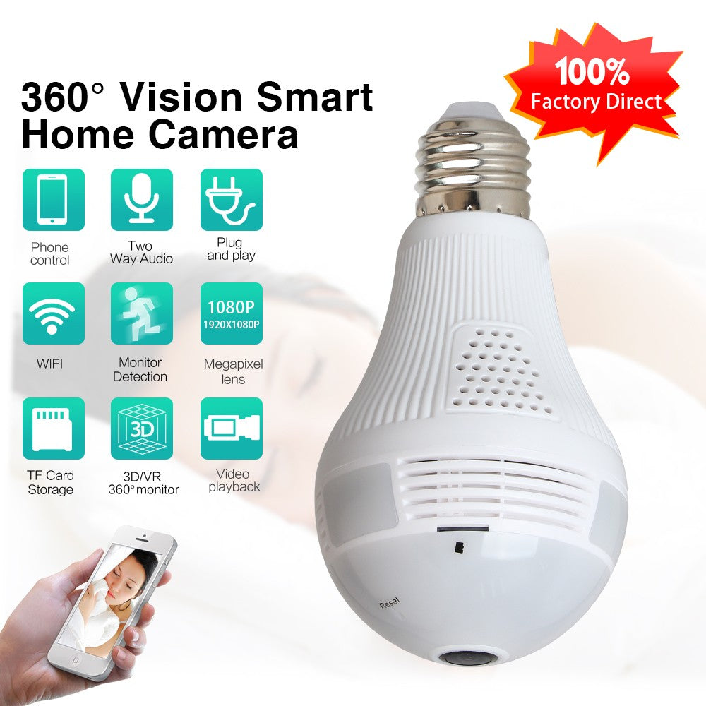 Wifi Bulb Camera VR Panoramic Security Camera with 360 Degree Security  System for iOS / Android