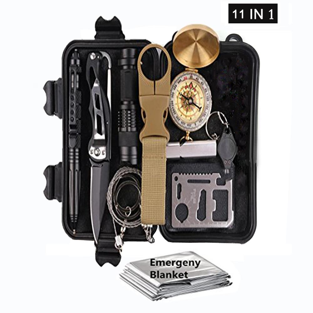 11 in 1 Survival Kit, Outdoor Camping Multi-Function Emergency Kit
