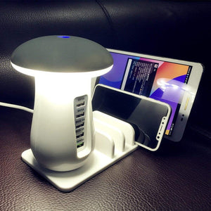 5 Port USB Charging Station with Mushroom LED Light & Quick Charge 3.0