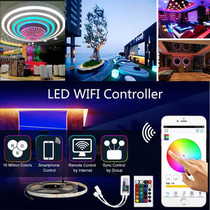 WIFI Color Changing Sound Activated LED Digital Tape with Remote Controller