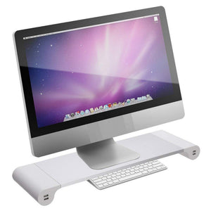 3-in-1 Stylish Monitor / Laptop Stand with Keyboard Storage & 4 USB Charging Slots
