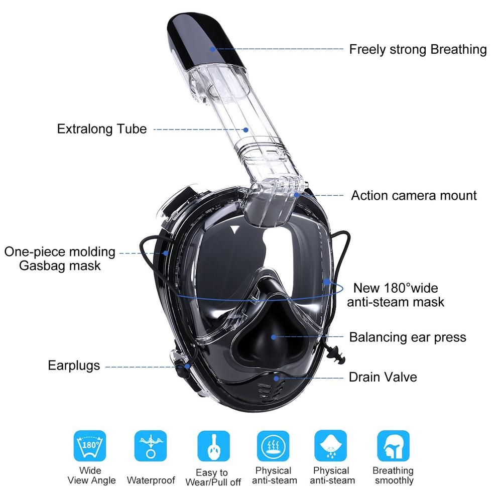 180° Full Face Snorkel Mask with Anti-Fog/Leak & Ear Pressure Equalization
