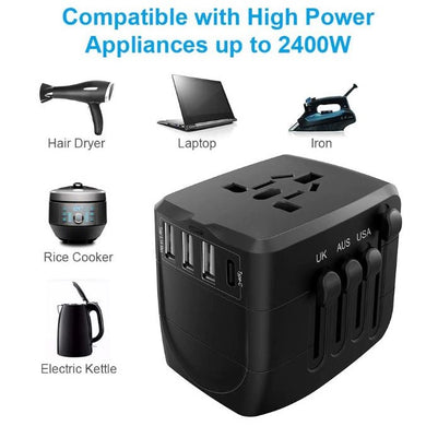 Universal Travel Power Adapter with 1 Type C & 3 USB Charging Ports