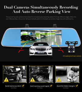 Jansite 3G/Wifi 7 inch Dashboard Front & Rear Mirror Camera with GPS Navigation