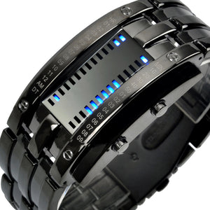 Digital Binary LED Waterproof Stainless Steel Watch
