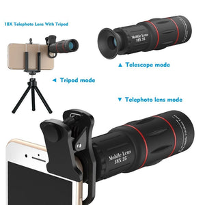 18X Smartphone Zoom Lens - High Definition 16x52 Monocular