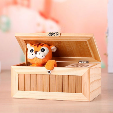 Wooden Electronic Useless Box with Tiger and Sound