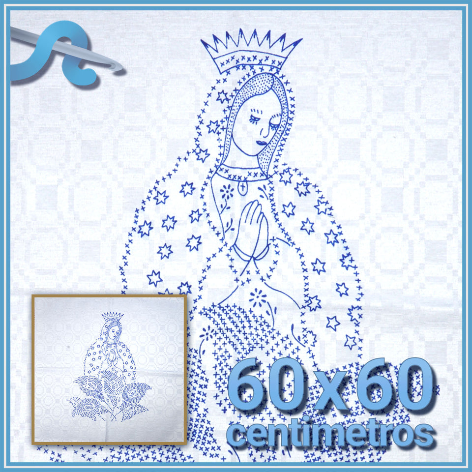 Virgen - Alemanisco 60x60cm para Bordar | Esquemas en Alemanisco| Graficos en ALEMANISCO | Servilleta