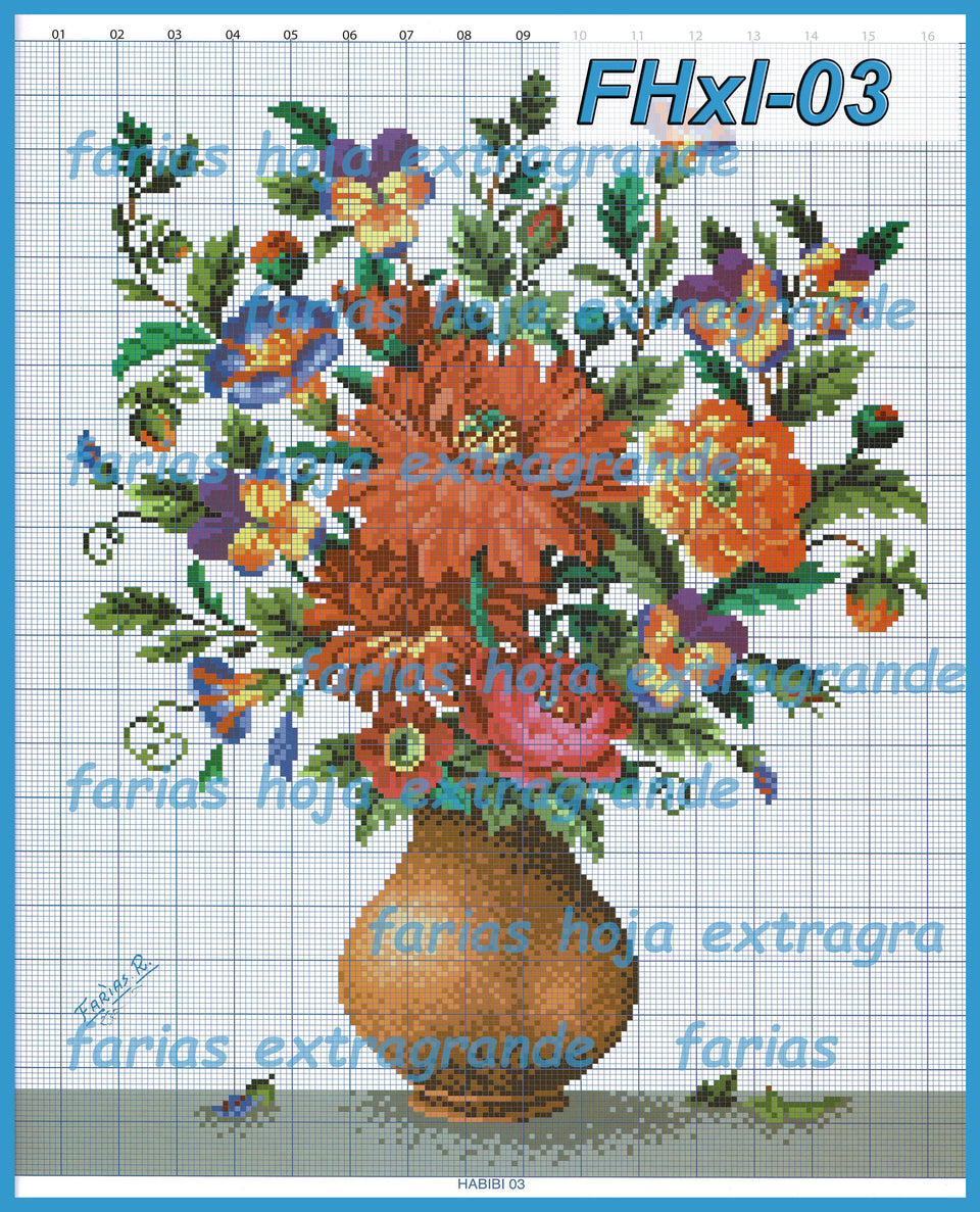 Farias XL Schemes - Embroidery Pattern | Crewel Stitch Embroidery | Creative Needlecraft Schemes