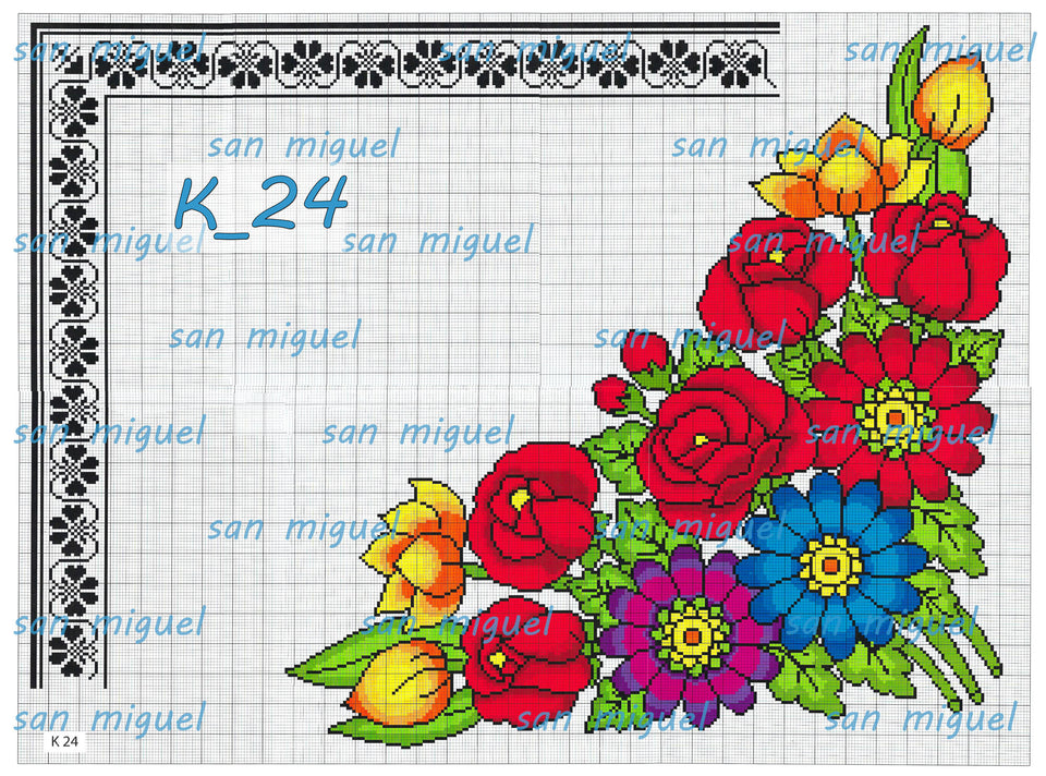 San Miguel K-Series - Embroidery Pattern | Crewel Stitch Embroidery | Creative Needlecraft Schemes