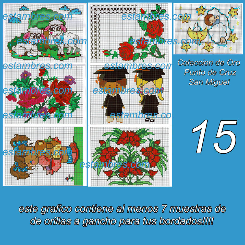 San Miguel Acordeon Book [01-24] - Embroidery Pattern | Crewel Stitch Embroidery | Creative Needlecraft Schemes