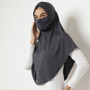 Adeena Hijab 2 in 1 - Dark Grey