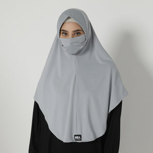 Adeena Hijab 2 in 1 - Light Grey