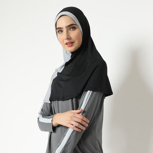 Aretha Hijab - Black-Light Grey