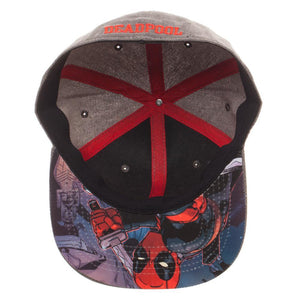 Embroidered Deadpool Logo Flatbill Flex Cap - Baseball Cap / Snapback - Sloppy Inks
