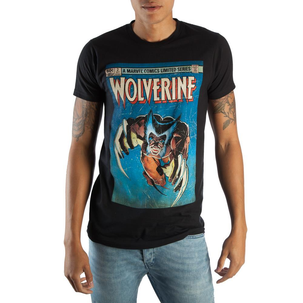 Retro Wolverine Marvel Comic Book Cover Artwork Men's Black Graphic Print Boxed Cotton T-Shirt - Sloppy Inks