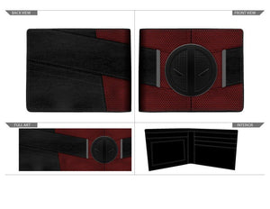 Red and Black Deadpool Uniform BiFold Wallet, Marvel Anti-Hero Costume Style Wallet, ID Holder - Sloppy Inks