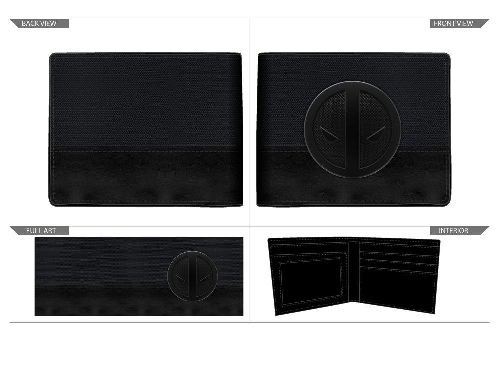 Marvel Deadpool X-Force Insignia Bi-Fold Wallet, Faux Leather Detail in Grey and Black, Multi-Functional - Sloppy Inks