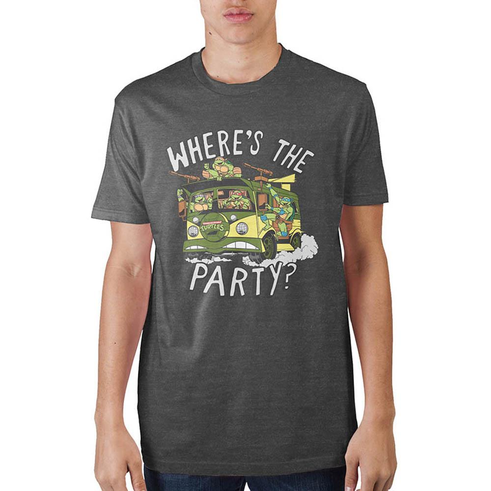 Teenage Mutant Ninja Turtles Where's The Party? Charcoal T-Shirt - Sloppy Inks