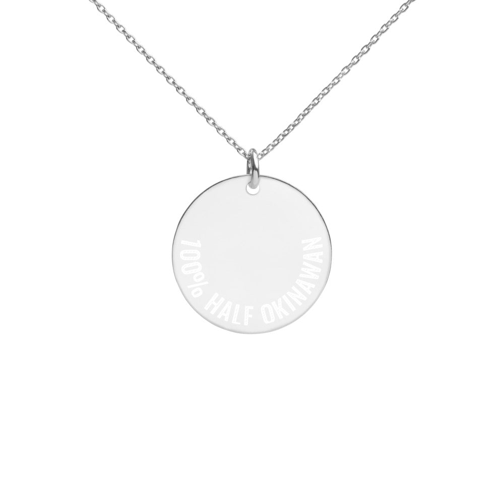 Engraved Silver Disc Necklace 100% HALF OKINAWAN