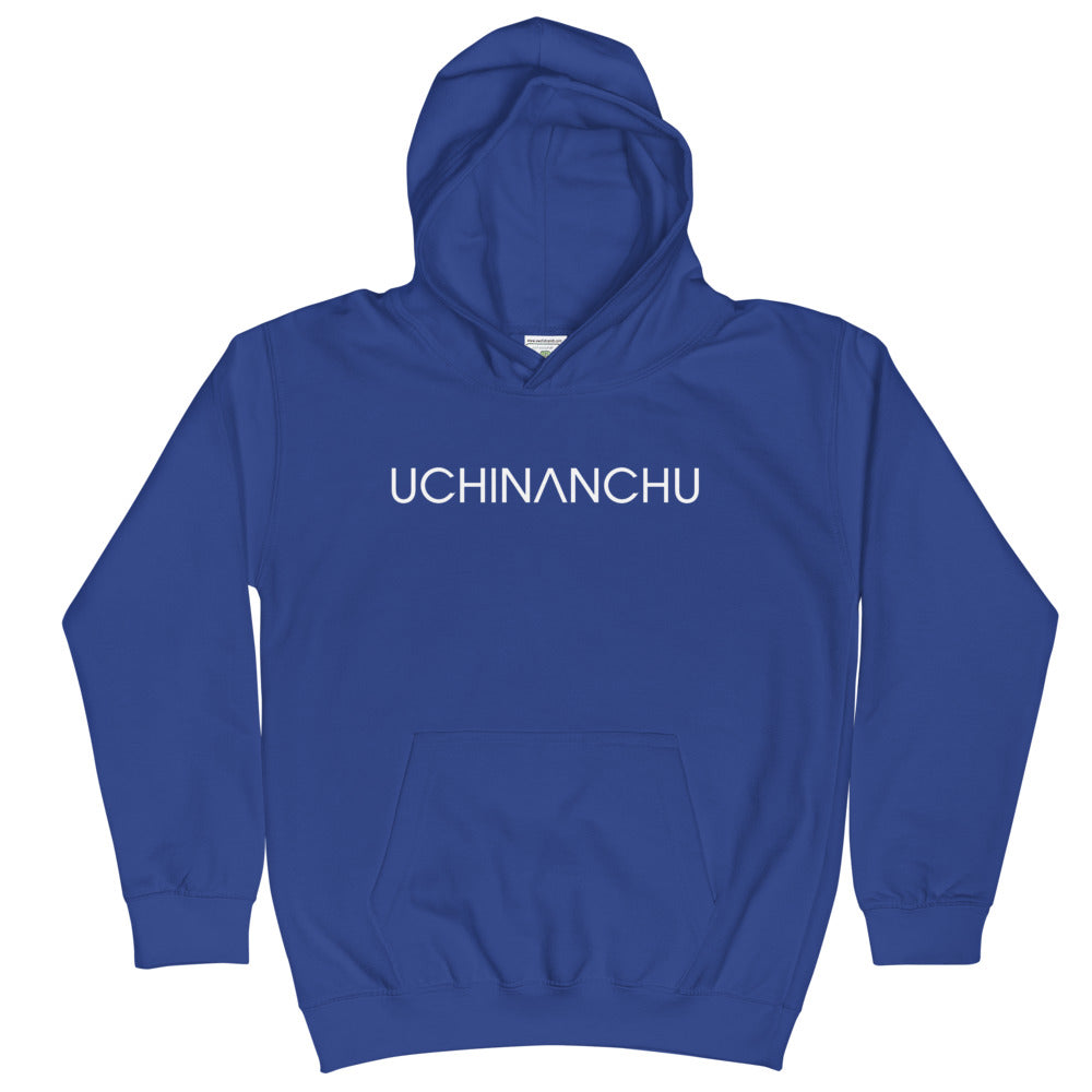 Kids Hoodie Uchinanchu with shisa white font