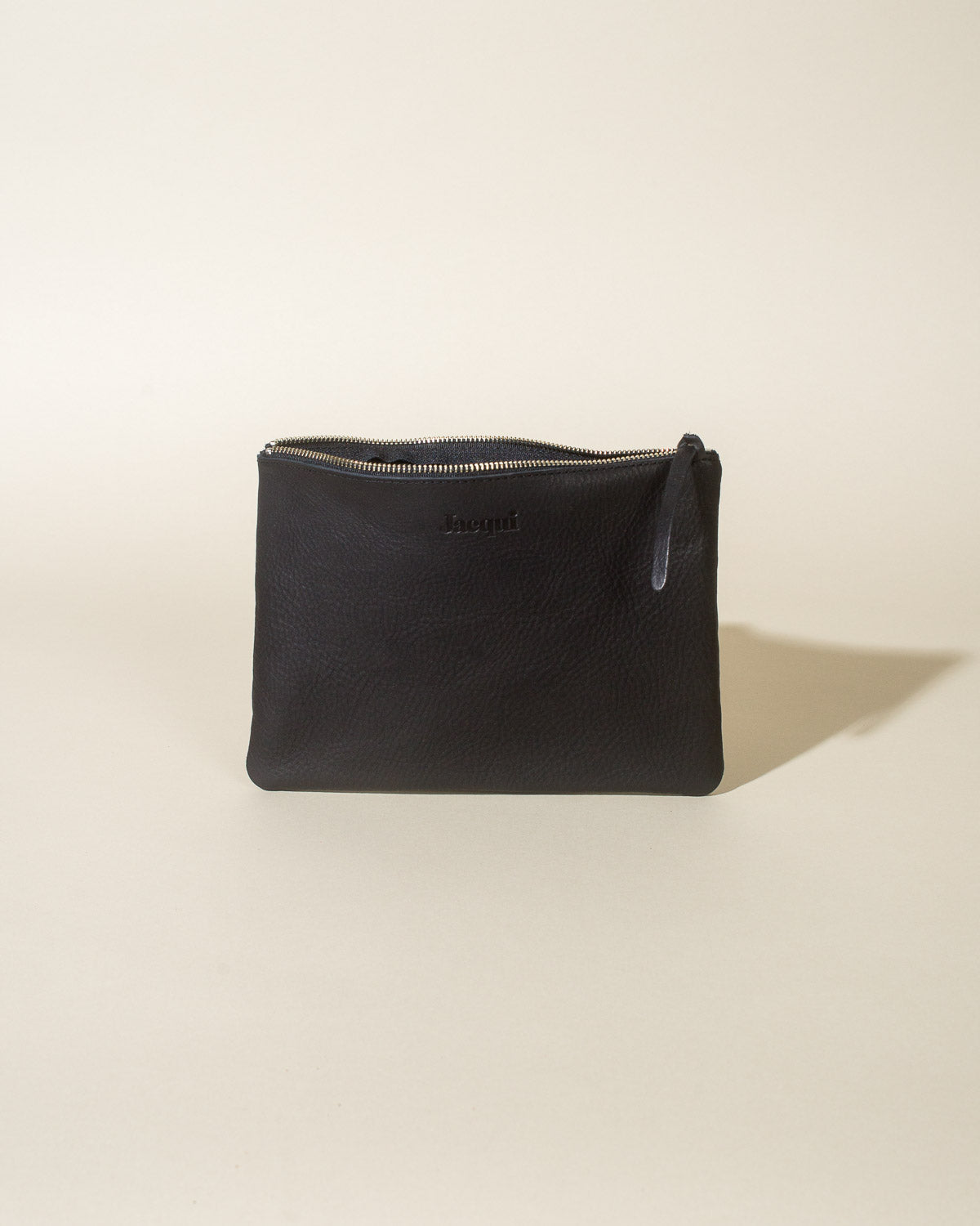 Leather Zip Pouch, Black