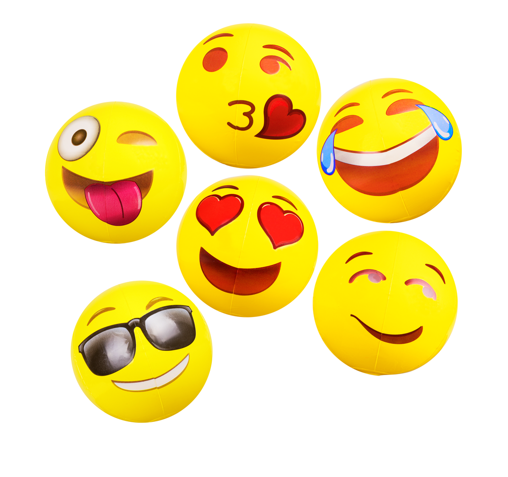 "Emoji Beach Ball Assortment 18"" 6 Pack"
