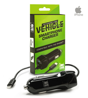 Super Fast 3.1 amp iPhone Car Phone Charger With Extra Long Cord and Extra USB Port to Charge 2 Devices at Once