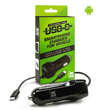 Super Fast 3.1 amp USB Type C Car Phone Charger for Android Cell Phones With Long Cord w/ extra USB Port