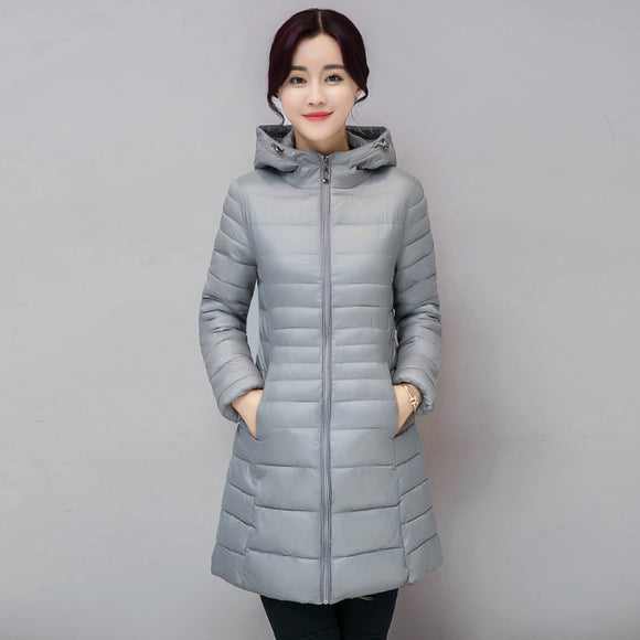 Womens jacket 2018 winter new down cotton jacket for women long fashion Hooded overcoat Thickening warm women down cotton jacket