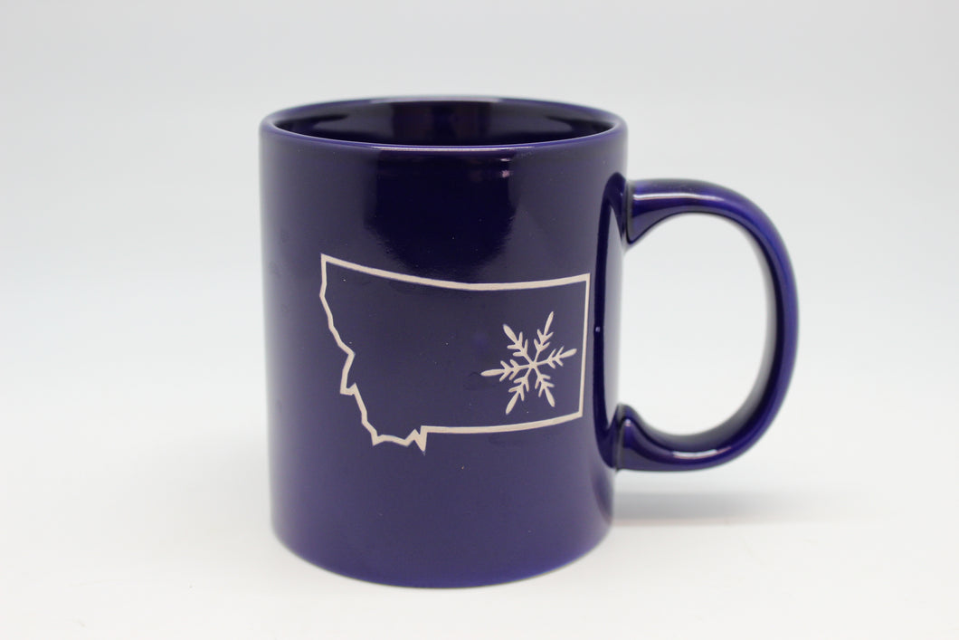 Montana State Shape with Snowflake Straight Mug