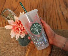 Starbucks Glitter Rose Heart Cold Cup 24 Oz