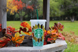 Starbucks Glitter Personalized Sun Flower Cold Cup