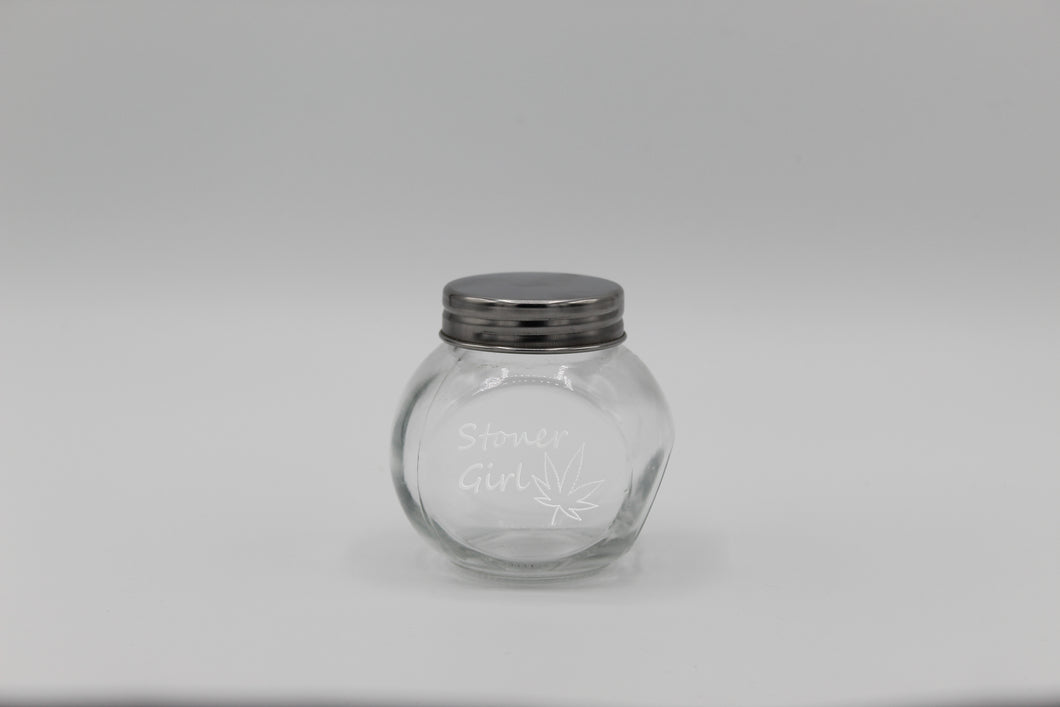 Stoner Girl Small Glass Jar