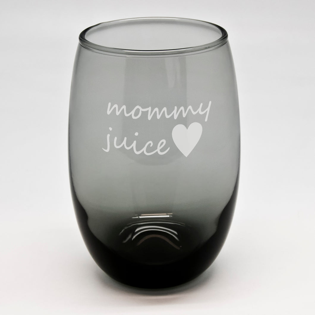 Mommy Juice Black Stemless Wine Glass