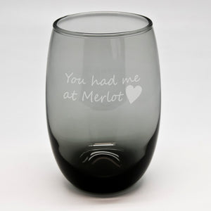 Merlot Black Stemless Wine Glass