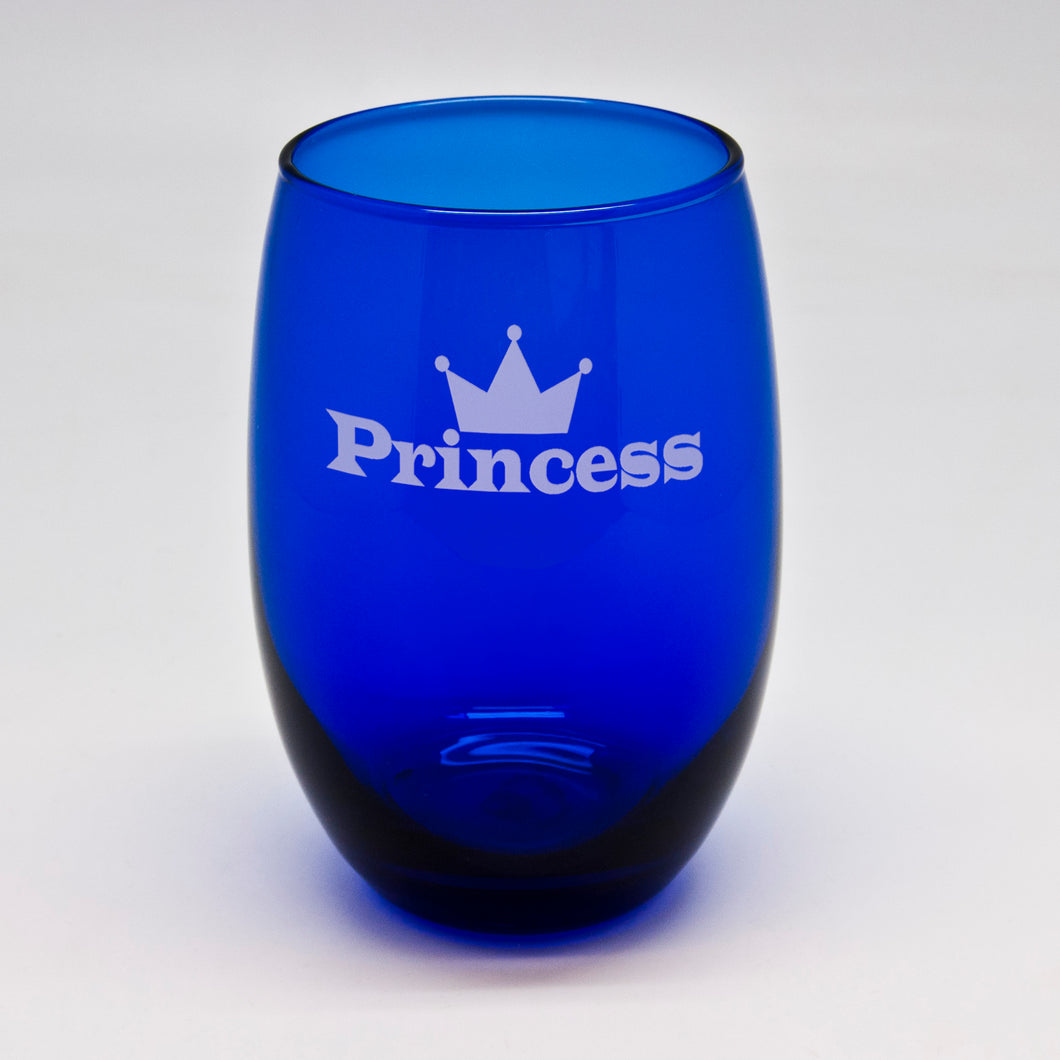 Princess Blue Stemless Wine Glass